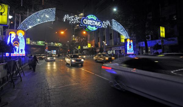Park Street Kolkata During Christmas.Kolkata A Light Gate On Park Street As Christmas